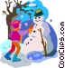 making a snowman Vector Clipart graphic