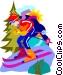 Downhill skiing Vector Clipart illustration