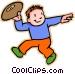 boy throwing football Vector Clip Art image