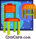 chair and stool in decorative Vector Clipart illustration