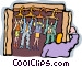 man opens his office closet Vector Clip Art graphic