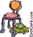 child's chair with toy Vector Clipart picture