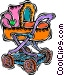 stroller, baby carriage Vector Clipart image