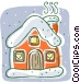 house in winter Vector Clipart picture