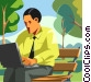 Man working with computer on a park bench Vector Clip Art graphic