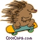 hedgehog riding a skateboard Vector Clip Art image