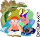 Boy reading a book with his cat Vector Clipart picture
