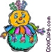 blow up clown Vector Clipart image