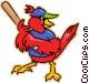 red cardinal playing baseball Vector Clip Art image