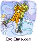 Couple skating on pond Vector Clipart picture