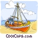 Fishing boat on beach Vector Clipart picture