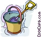 pail and shovel Vector Clip Art graphic
