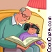 Grandfather reading a book with his granddaughter Vector Clipart graphic