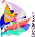 boy with his sailboat Vector Clipart graphic