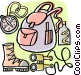 Backpacker or hiker's equipment Vector Clip Art picture
