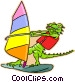 windsurfing alligator Vector Clipart graphic