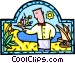 waiter with cocktails served Vector Clip Art picture