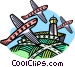 airplanes with control tower Vector Clipart illustration