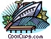 Cruise ship at dock Vector Clipart graphic
