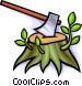 axe with a tree stump Vector Clip Art image