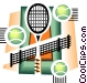Tennis balls and rackets Vector Clip Art graphic
