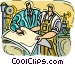 working in the machine shop Vector Clipart image