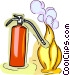 fire extinguisher putting out Vector Clipart illustration