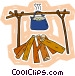 Campfire with pot Vector Clip Art graphic