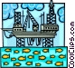 oil rig in a delicate balance Vector Clip Art graphic