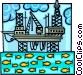 oil rig in a delicate balance Vector Clip Art graphic