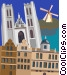 Saint Michel's Cathedral, Brussels Vector Clipart illustration