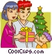 Family on Christmas morning Vector Clip Art image