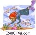 Scuba diver with fish Vector Clip Art picture