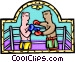 Boxers sparring Vector Clipart illustration
