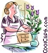 Florist making bouquet Vector Clip Art image