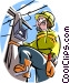 Telephone repairman Vector Clip Art image