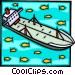 Oil tanker with fish in ocean Vector Clip Art image