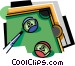 Pool table with balls and cue Vector Clipart graphic
