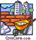Wheelbarrow with brick wall Vector Clipart picture