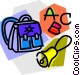 knapsack with school bell and Vector Clipart graphic