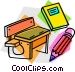 school desk with book and Vector Clip Art image