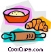 rolling pin with flour and Vector Clipart graphic
