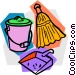 broom with dustpan and pail Vector Clip Art image