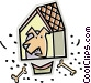 dog house with dog Vector Clipart picture