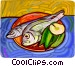 Fish on a plate with lemon Vector Clipart image
