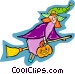 witch on a broomstick Vector Clip Art graphic