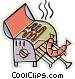 bbq with sausage cooking Vector Clip Art graphic