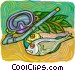 Snorkeling equipment, with fish Vector Clipart picture