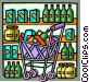 Shopping cart full of groceries Vector Clipart illustration