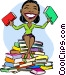 Woman sitting on stack of books she read Vector Clip Art image